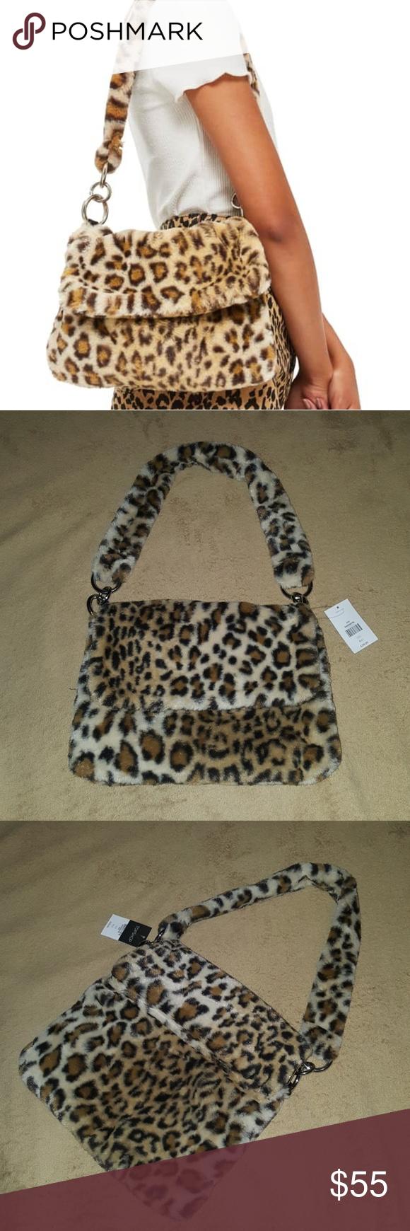 a59abc6408db Topshop Teddy Leopard Print Shoulder Bag NWT!! A fuzzy faux-fur strap and