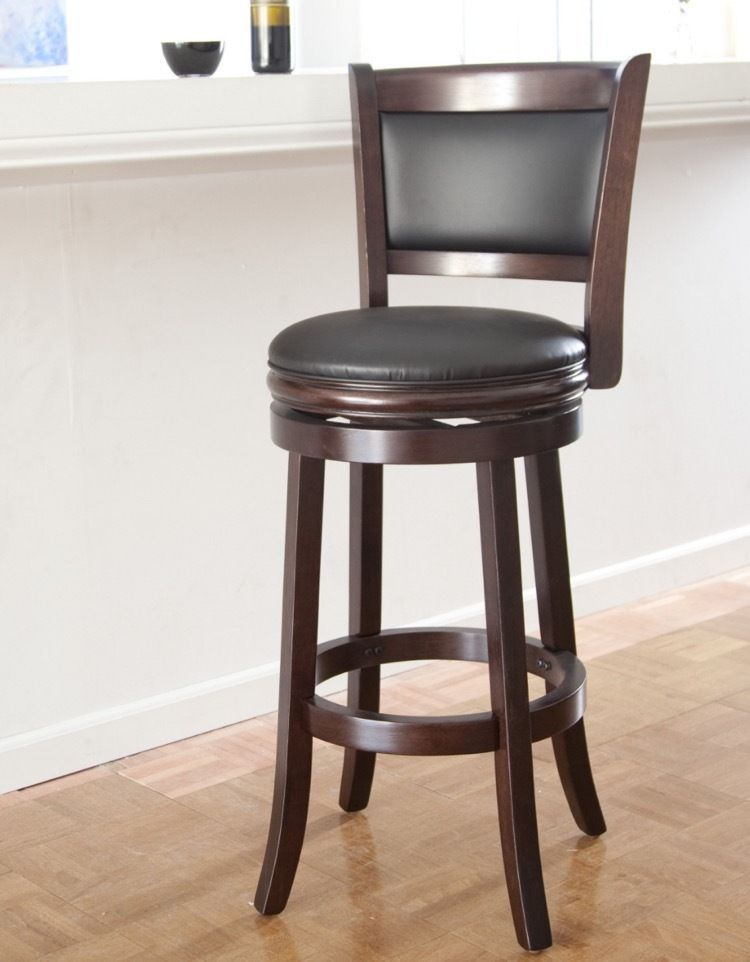 Wooden Swivel Bar Stools 30 Inches With Back Seat Cushion Brown