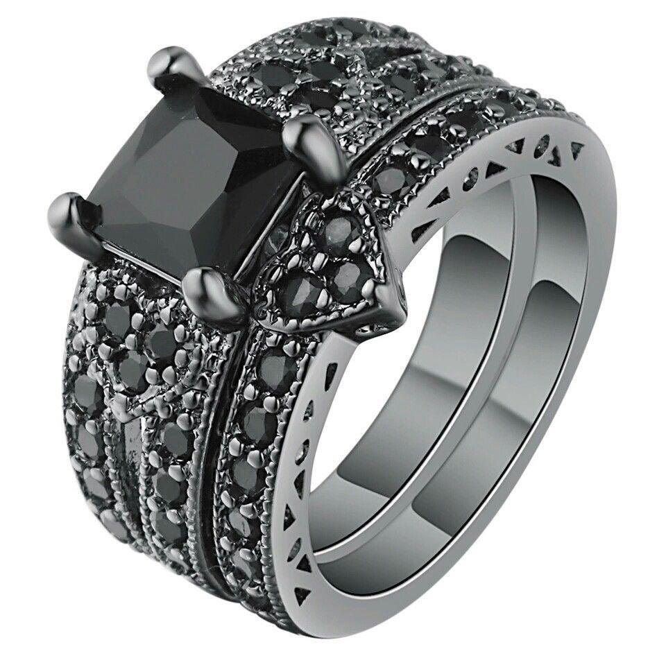 LabCreated Black Onyx Heart CZ Engagement Wedding Set