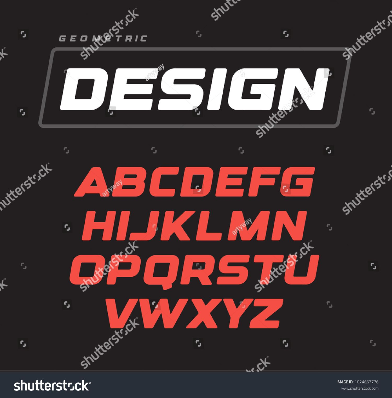 Letters collection. Italic bold geometric alphabet