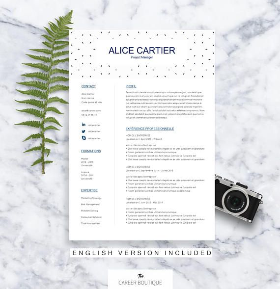 CV Template Alice Resume Format Cover Letter in English Job - format cv resume