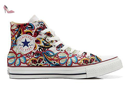 Make Your Shoes Converse Customized Adulte - chaussures coutume (produit artisanal) Fluo Pasley size 32 EU javb1Vax