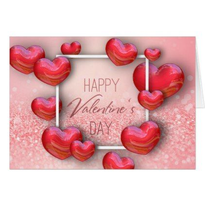 ValentineS Day Red Hearts Glitter Greeting Card  Valentines Day