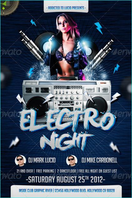 Electro Or Hip Hop Night Flyer Template  Party Flyer Templates