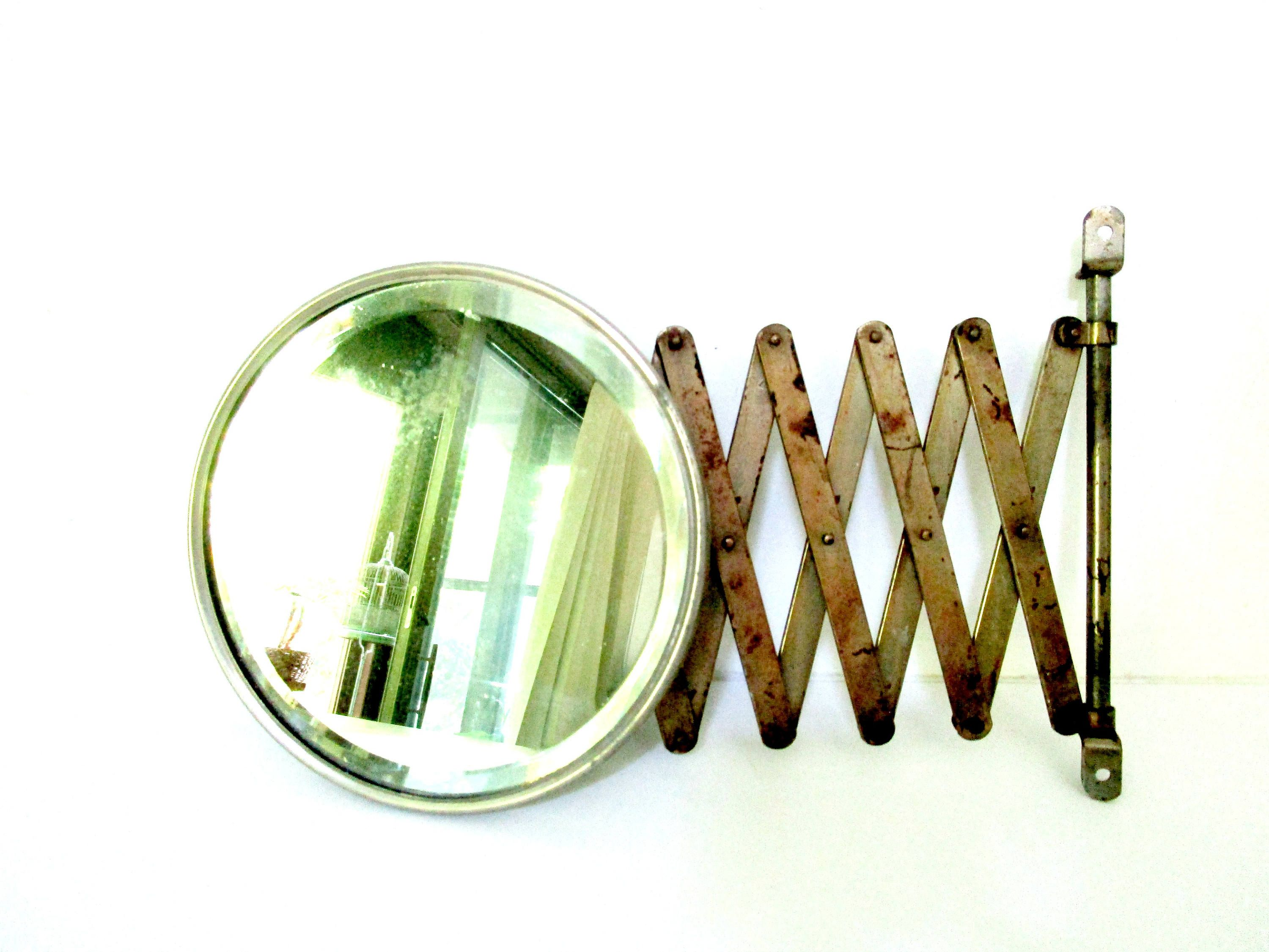 Antique Shaving Mirror, Beveled Shaving Accordion Mirror, Wall Mount Extendable Articulating ...