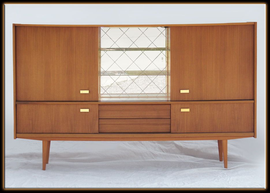 Vintage 60s Mid Century Modern Large Teak Wood China Cabinet Hutch Display