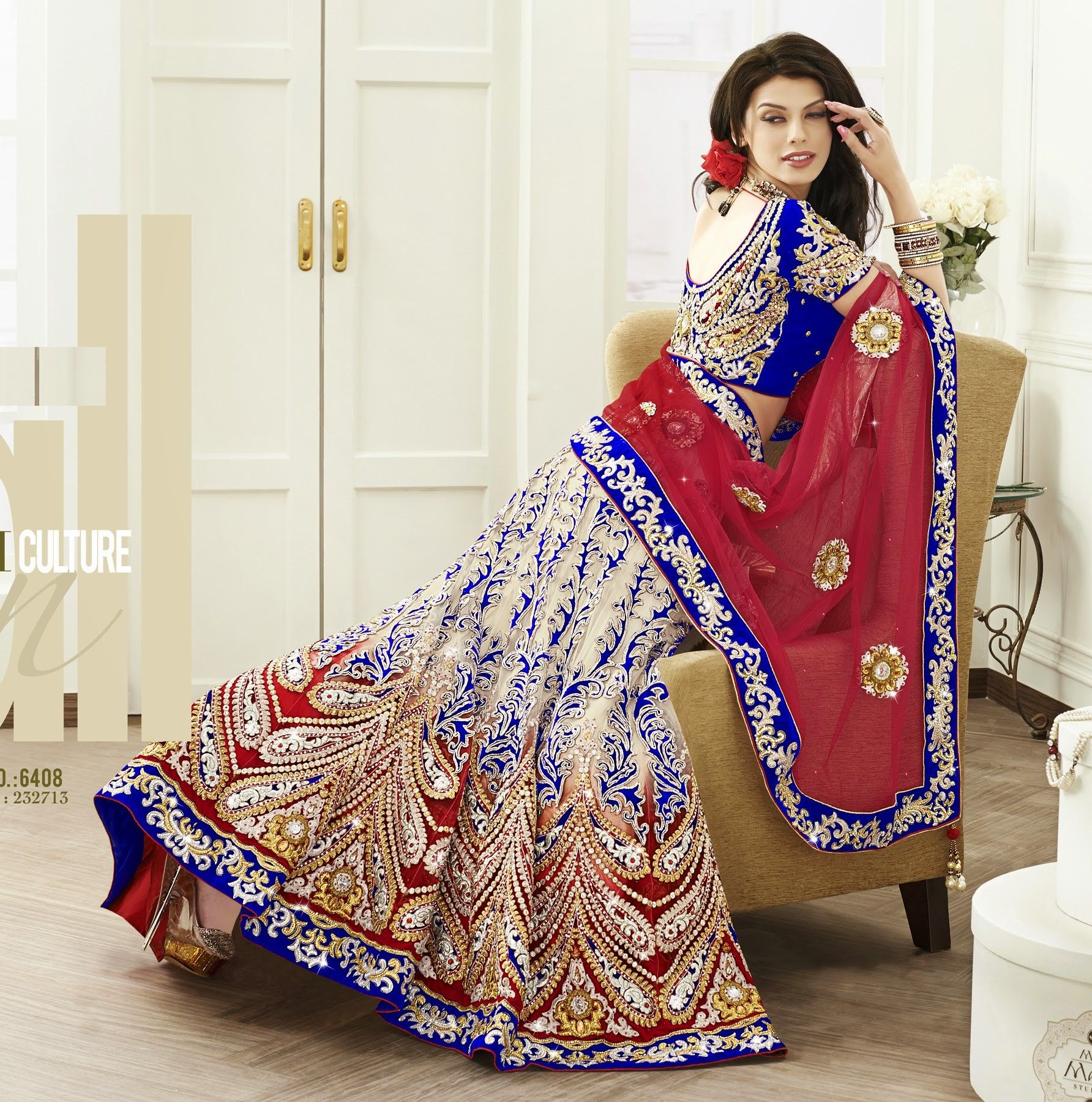 Dazzling beige red u blue lehenga indian outfits pinterest