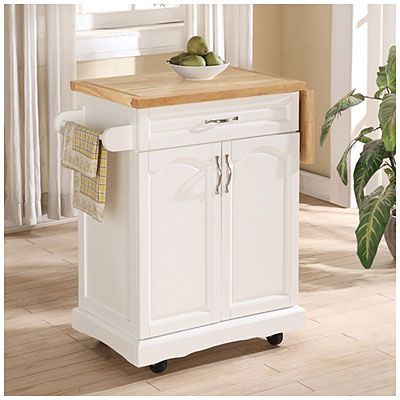 Small White Kitchen Cart With Drop Leaf Small White Kitchens White Kitchen Cart Kitchen Cart