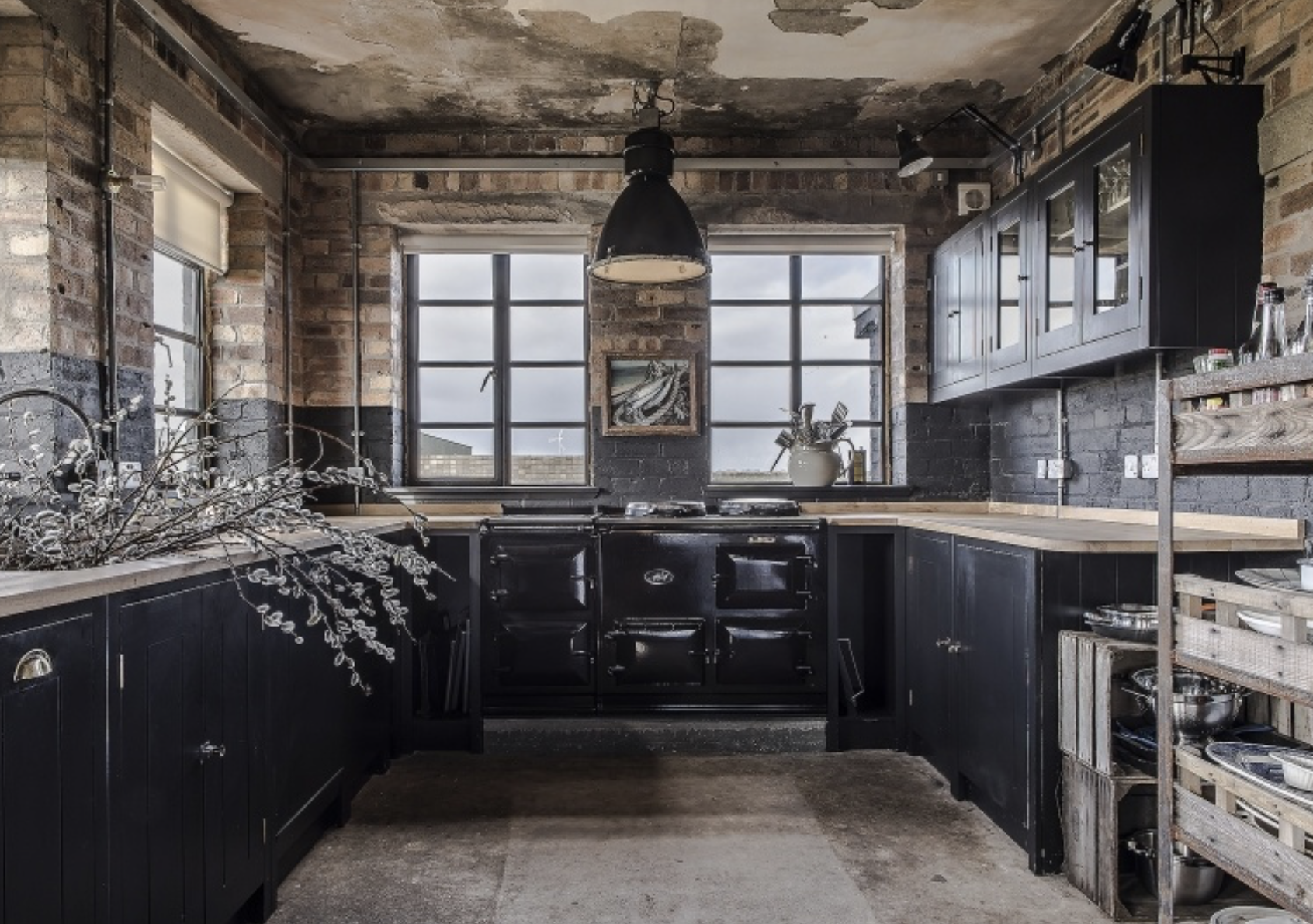 Spooky kitchen built inside an abandoned WWII air traffic
