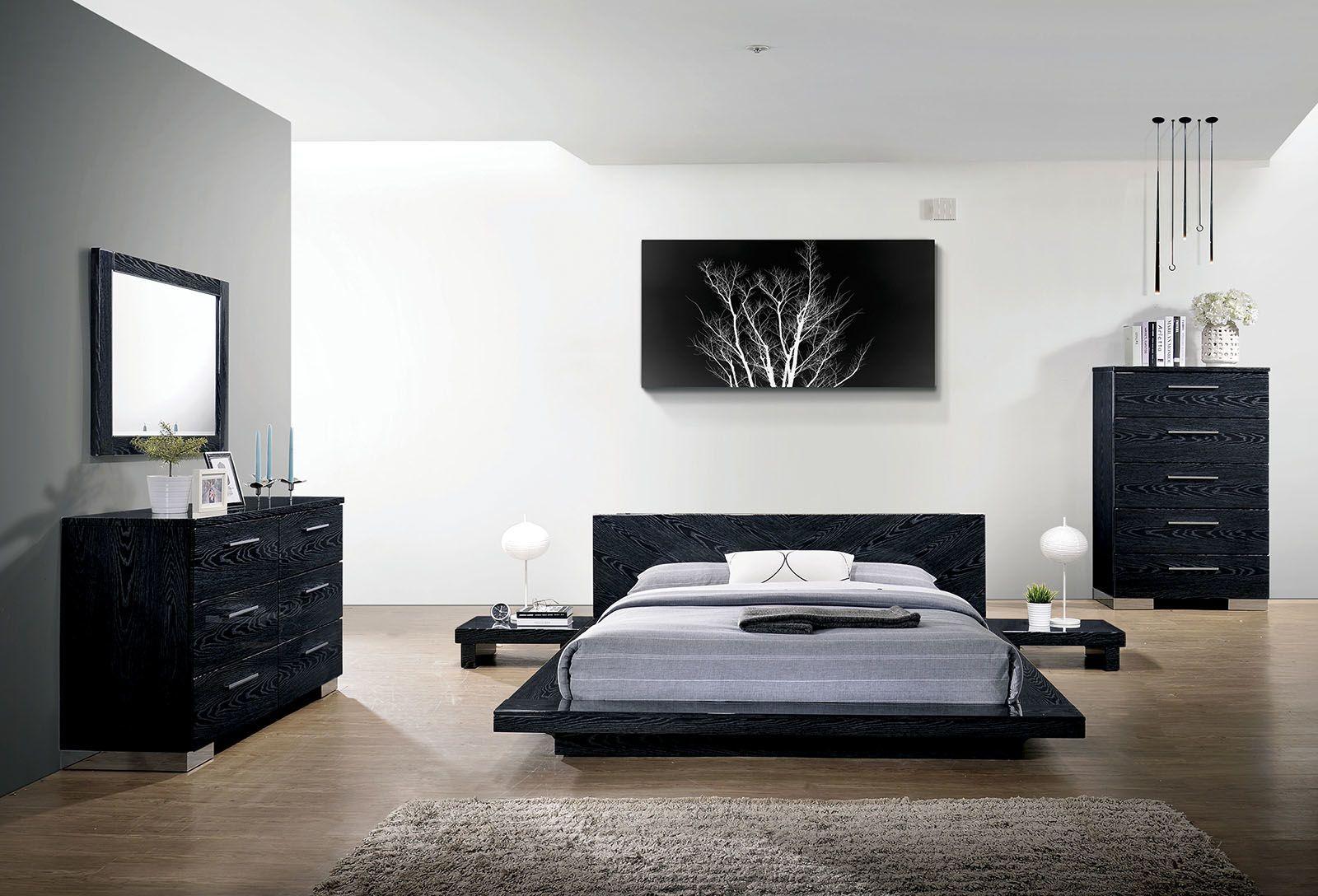 Cristie Black King Size Bed Cm7540bk Ek Furniture Of America King Size Beds In 2020 Platform Bedroom Sets Modern Bedroom Furniture Bedroom Sets Queen