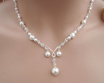 Elegant Bridal Jewelry Set Wired Crystal Pearl Necklace and