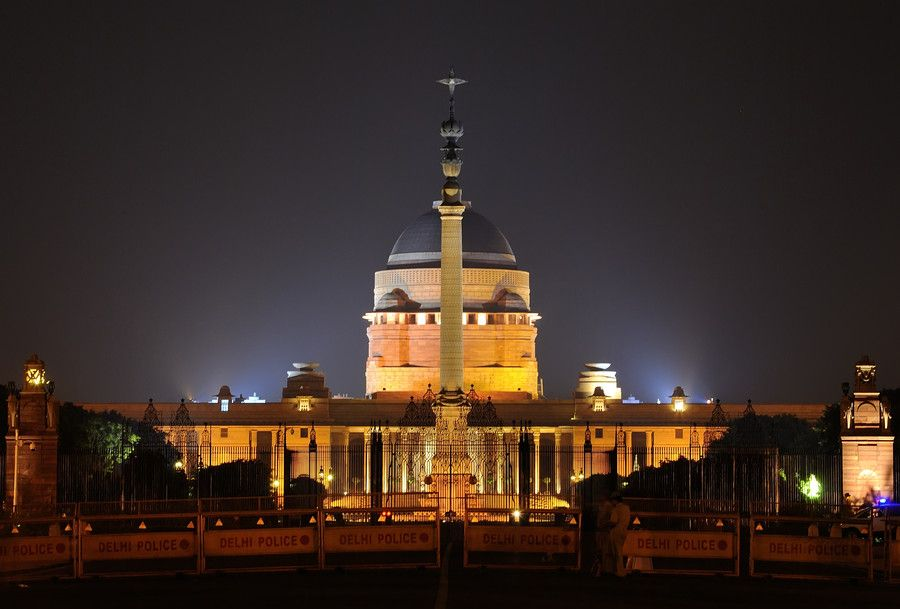 Night Shot Of Indian President House, New Delhi...