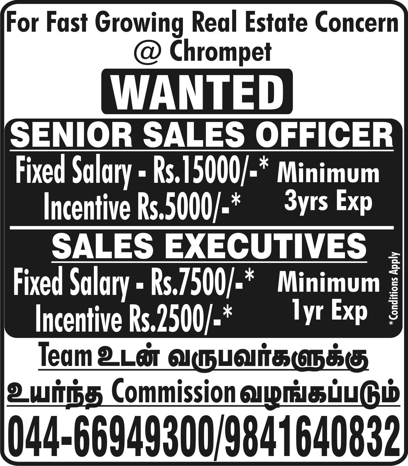 Real Estate Sales Agent Male Female Job Vacancy In Chennai Real Estate Jobs Real Estate Sales Real Estate Companies