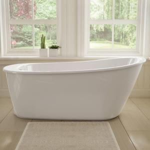 MAAX Sax 5 ft Freestanding Reversible Drain Bathtub in White