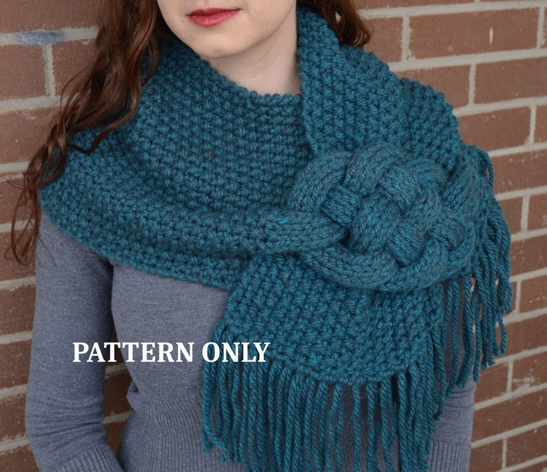 Photo of PATTERN: Misty Mornings – Celtic Knot Scarf.              chunky knit scarf patter, cowl scarf, celtic knot, knit scarf, cabled scarf, diy
