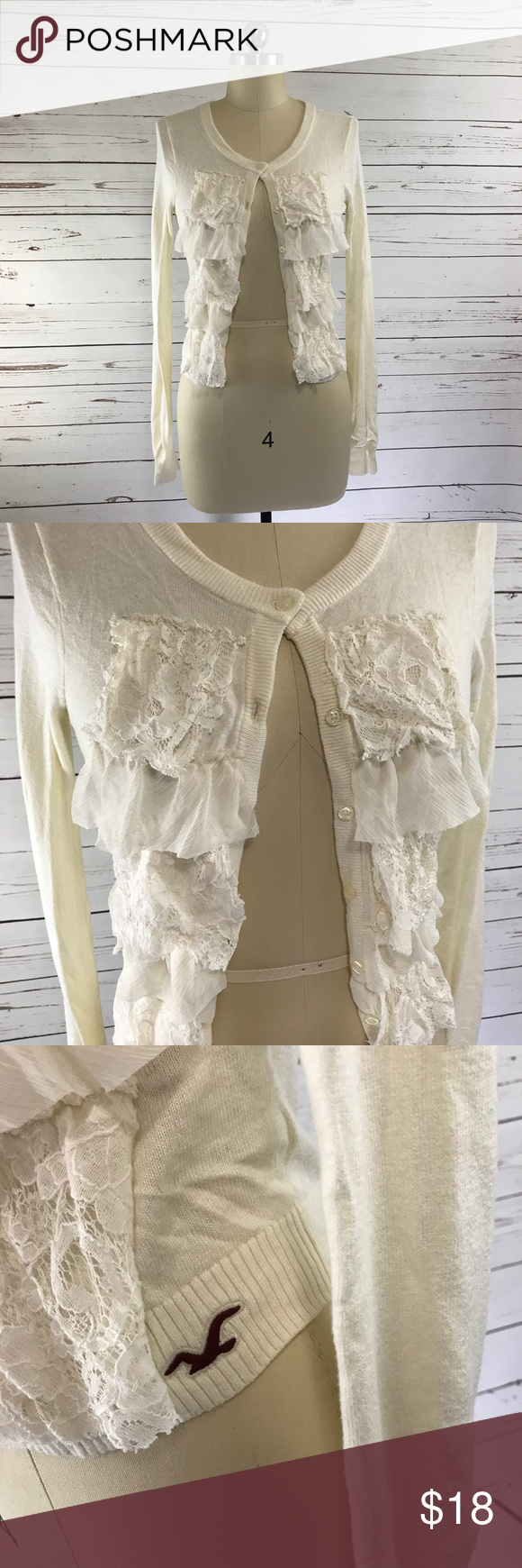 Hollister Ruffle and Lace Cream Cardigan Sz S Hollister cream ...
