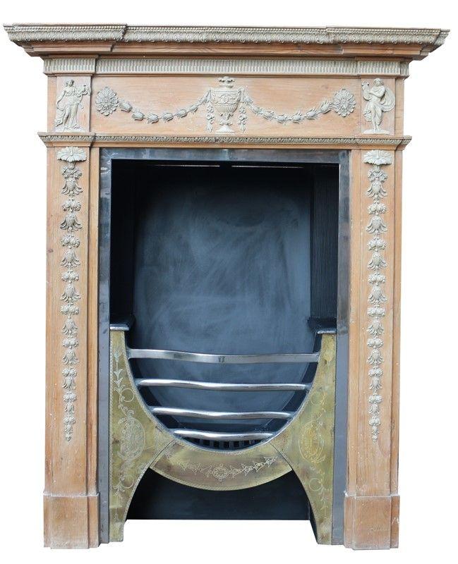 Antique Georgian Pine And Composition Fireplace Decorative