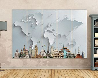 World map large print beige world map big world map canvas world map with monuments leather printlarge world mapsilver world mapgold world mapmulti pieces world mapbetter than canvas gumiabroncs Gallery