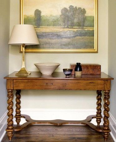 barley twist table and landscape painting