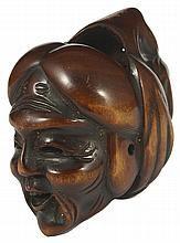 A MADERA Máscara japonesa NETSUKE DE JO Y UBA, último período de Edo, alrededor de 1850