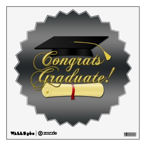 Congrats Graduate Diploma and Graduation hat Room Stickers by PLdesign $16.95