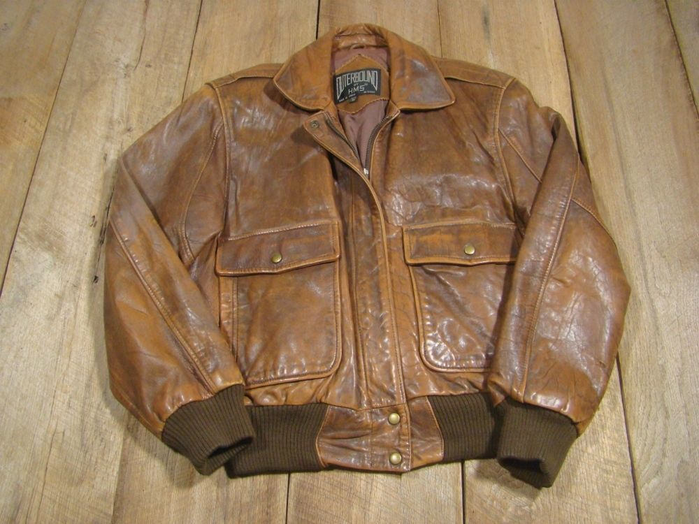 ee4227ce8 Vintage WWII Leather Bomber Flight Jacket-1980's-HMS-G2-A2-Great ...
