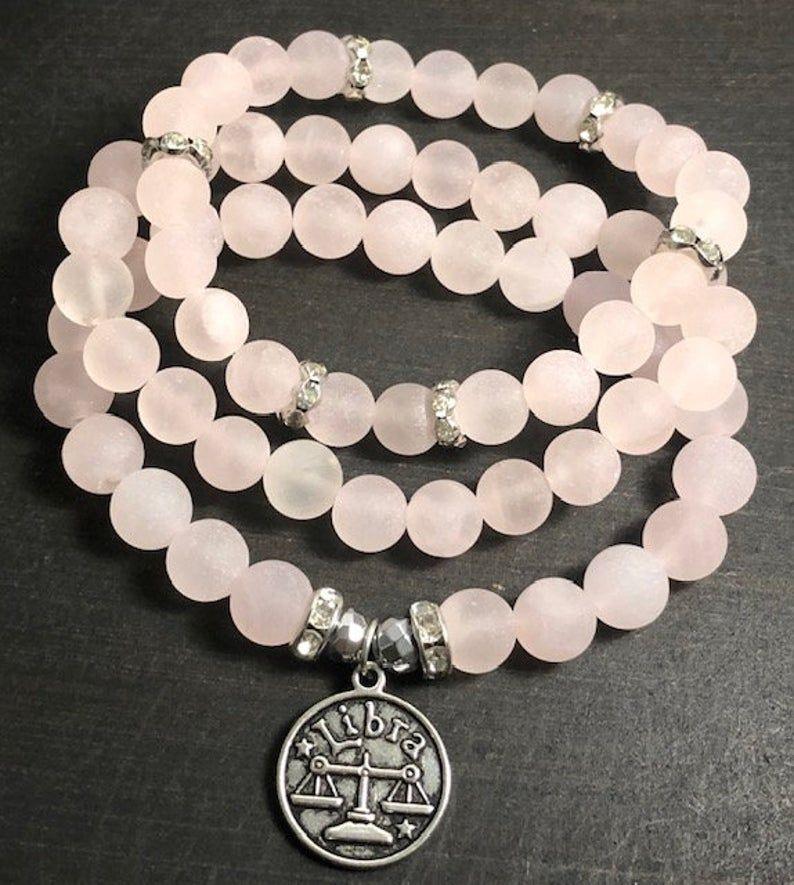 Libra Bracelet 3pc Set Rose Quartz Beaded Bracelet Pink   Etsy