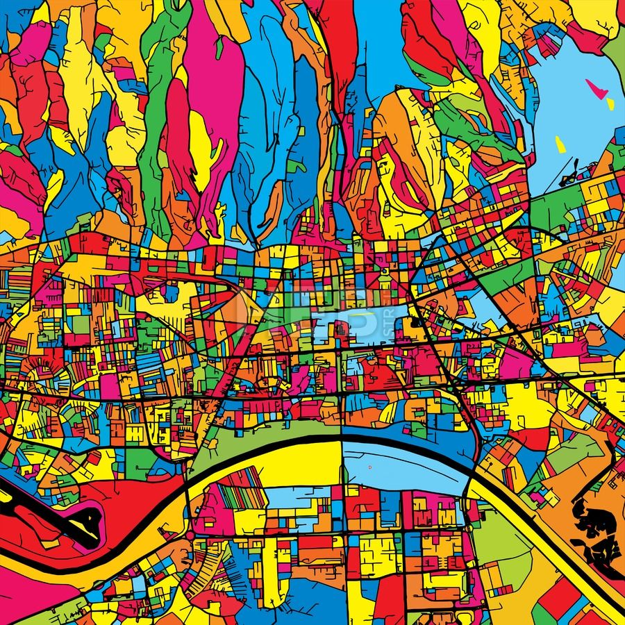 Zagreb Croatia Colorful Map Hebstreits Sketches Colorful Map Zagreb Croatia Art