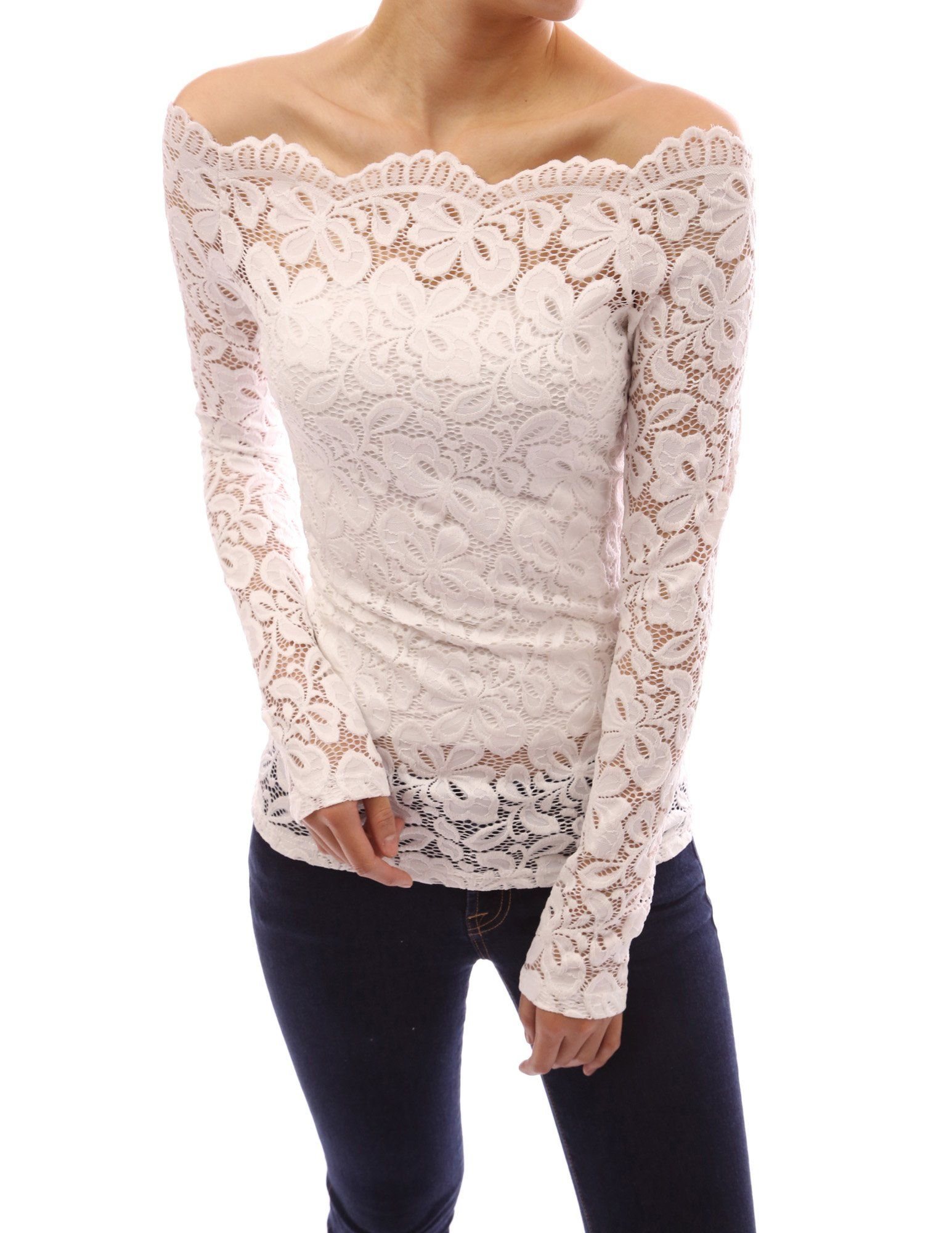76d2bfde543 would have to dye it) PattyBoutik Floral Lace Scallop Off Shoulder ...