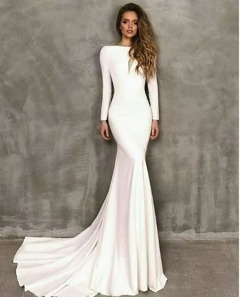 b024022bccc50 Cut boat neck below collar bone and slightly off the shoulder. Cathedral  length hem