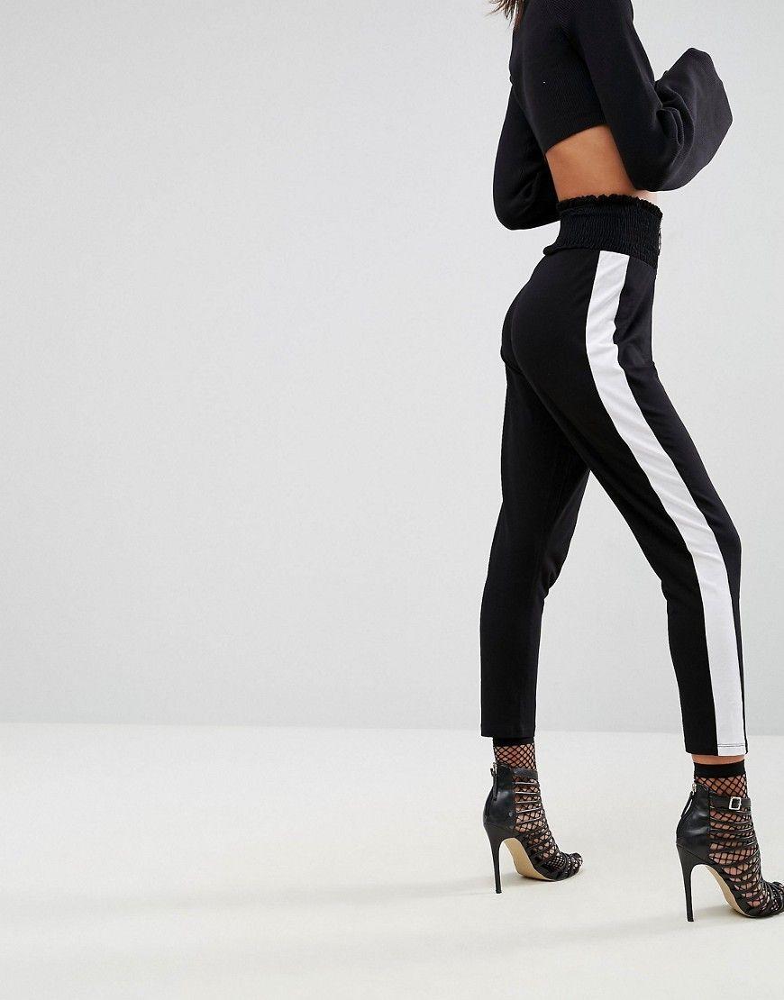 7c89698edd5f ASOS Peg Pants with Shirred Waistband - Black