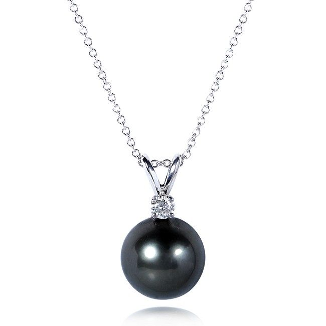 One-of-a-Kind Tahitian Pearl and Diamond Necklace in 14k White Gold (16 Chain)