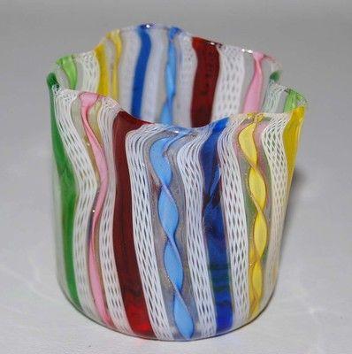 Vintage Venetian Murano Art Glass Zanfirico Latticino Rainbow Ribbon Vase Vintage Vetro Soffiato Vasi