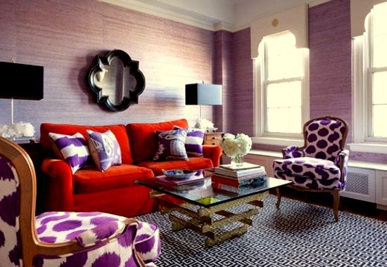 Purple Walls Red Sofa Purple Living Room Lavender Living Rooms