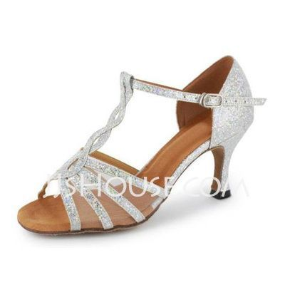 Dance Shoes  2999  Womens Sparkling Glitter Heels Sandals Latin Salsa With TStrap Dance Shoes 053020380