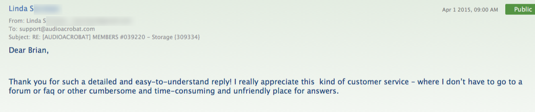 #feedback from Linda S: Thank you for such a detailed and easy-to-understand reply! I really appreciate this kind of customer service – where I don't have to go to a forum or faq or other cumbersome and time-consuming and unfriendly place for answers.