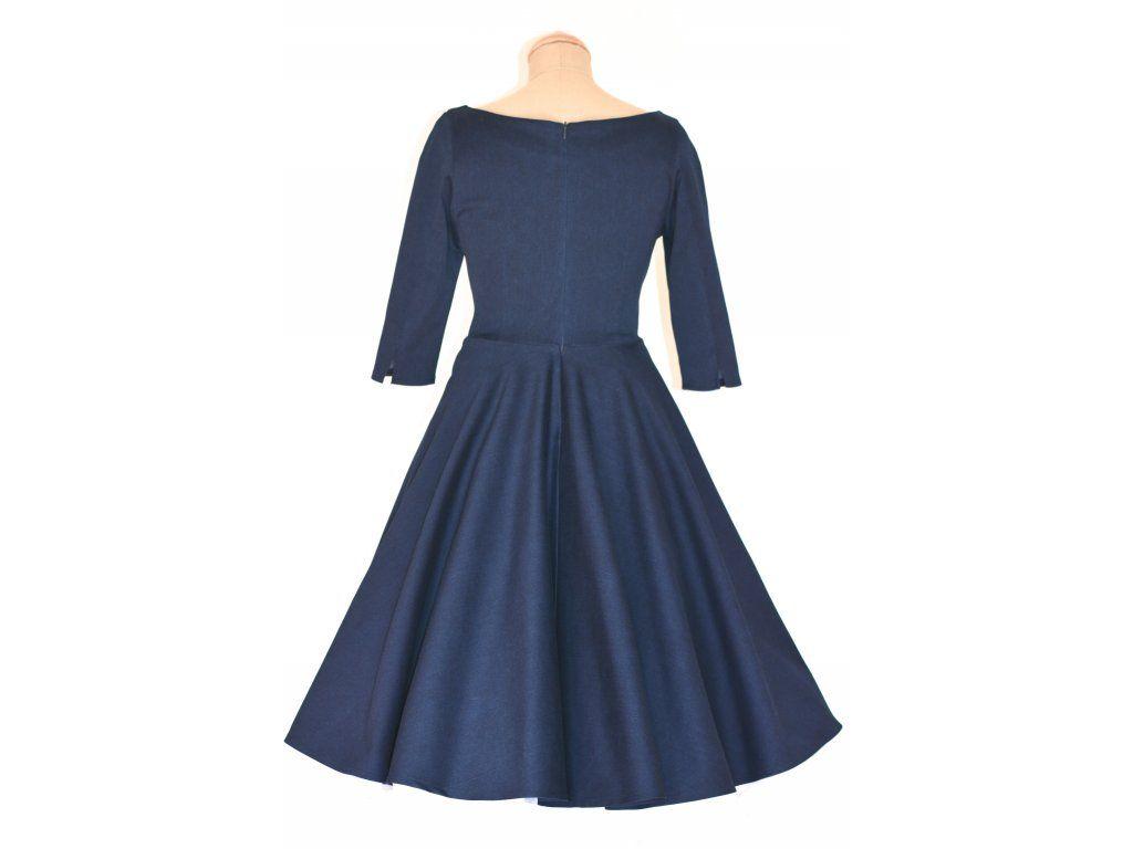 66098114be8d ADELE retro šaty modré denim. šaty mají lodičkový výstřih 3 4 rukáv kolová  sukně pásek s ozdobnou sponou délka sukně 60 cm