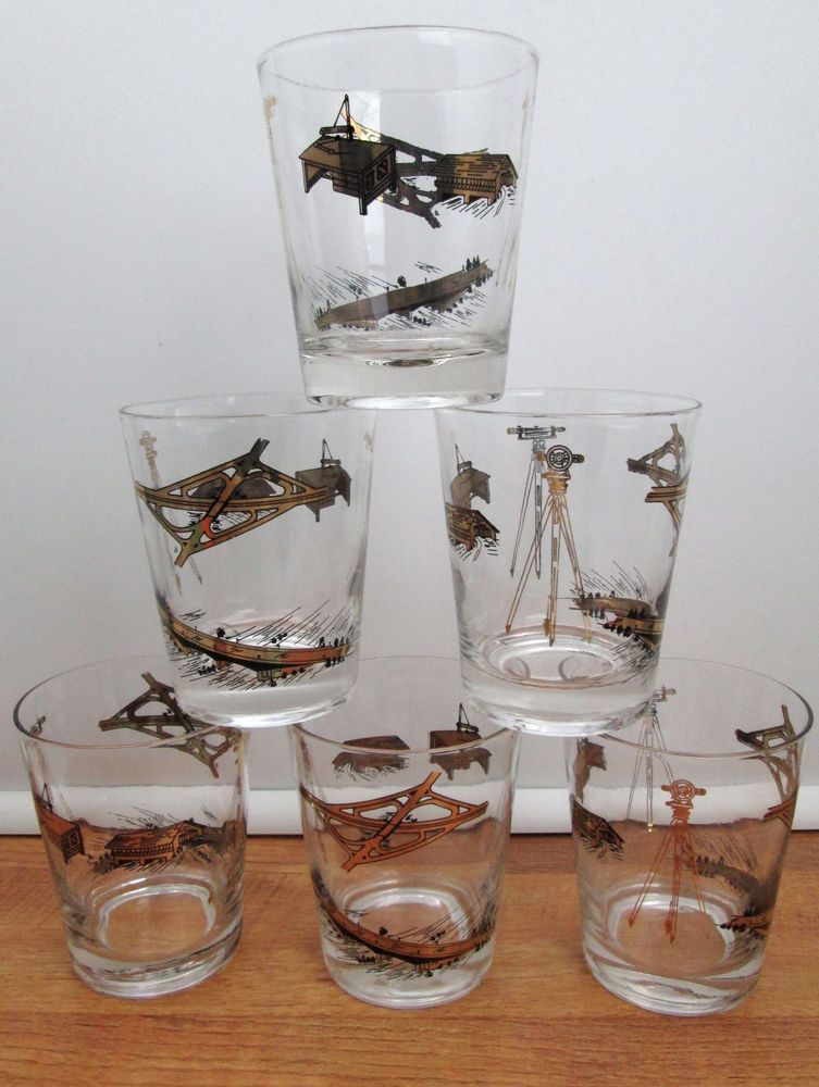 Vintage Barware Civil Engineering 6 Double Old Fashioned Whiskey Glasses  Gold