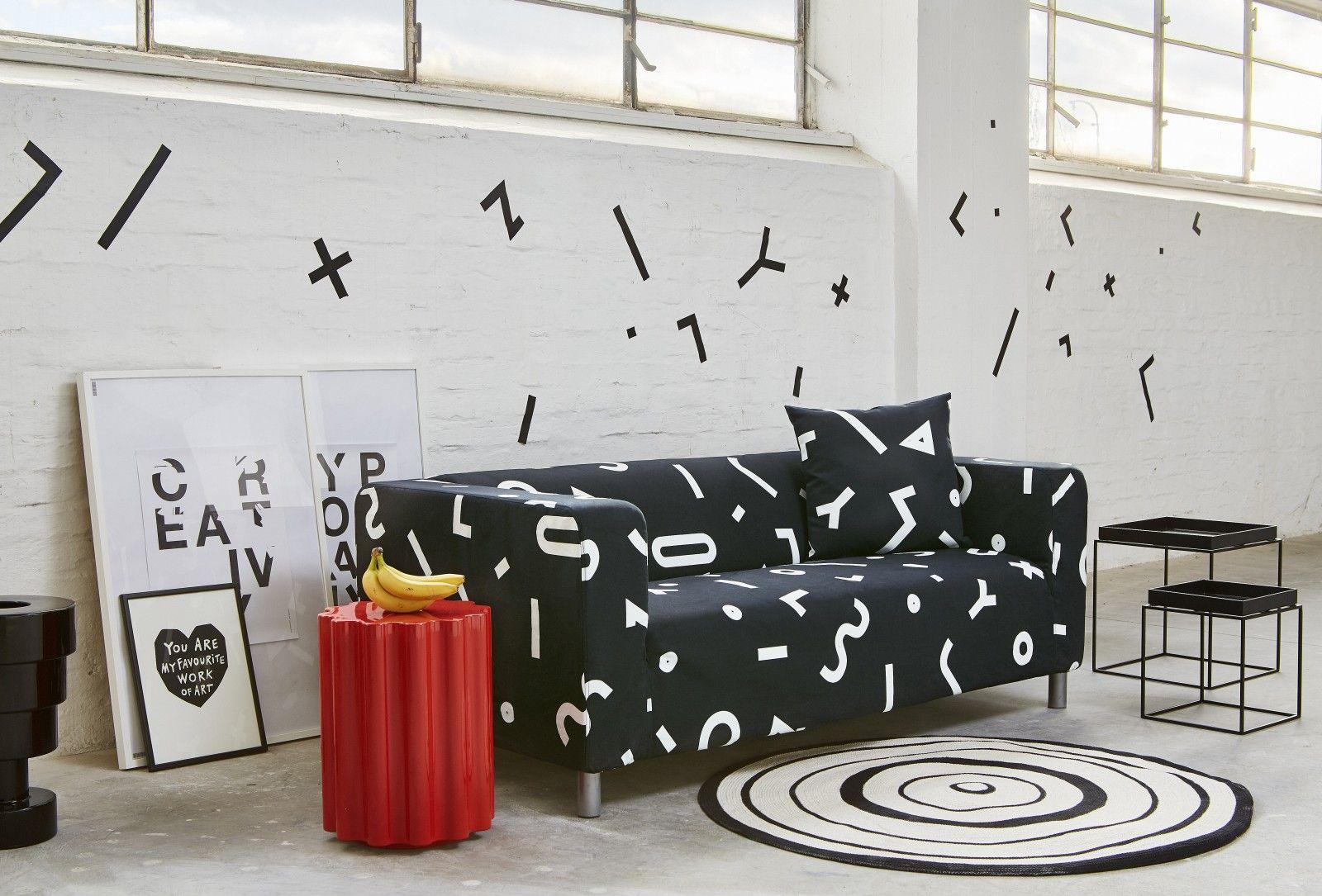 Elton Ikea Klippan Cover White Slipcover Couch Black And White Sofa White Slipcovers