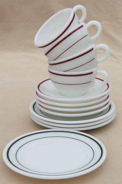 red \u0026 green band vintage Pyrex milk glass dishes coffee cups \u0026 dessert plates set & red \u0026 green band vintage Pyrex milk glass dishes coffee cups ...