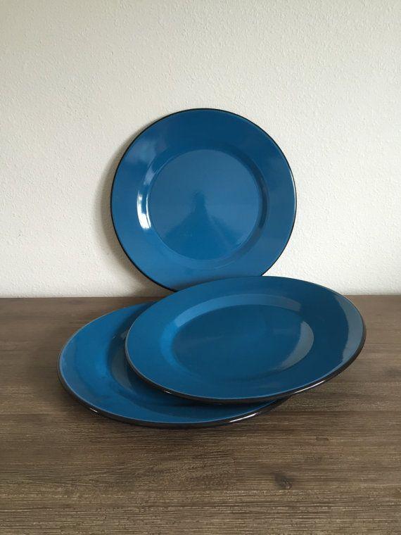 Vintage Enamel Plates; Turquoise Blue Enamel Plate Set; Enamel Serving Dish; Metal Platters & Vintage Enamel Plates; Turquoise Blue Enamel Plate Set; Enamel ...