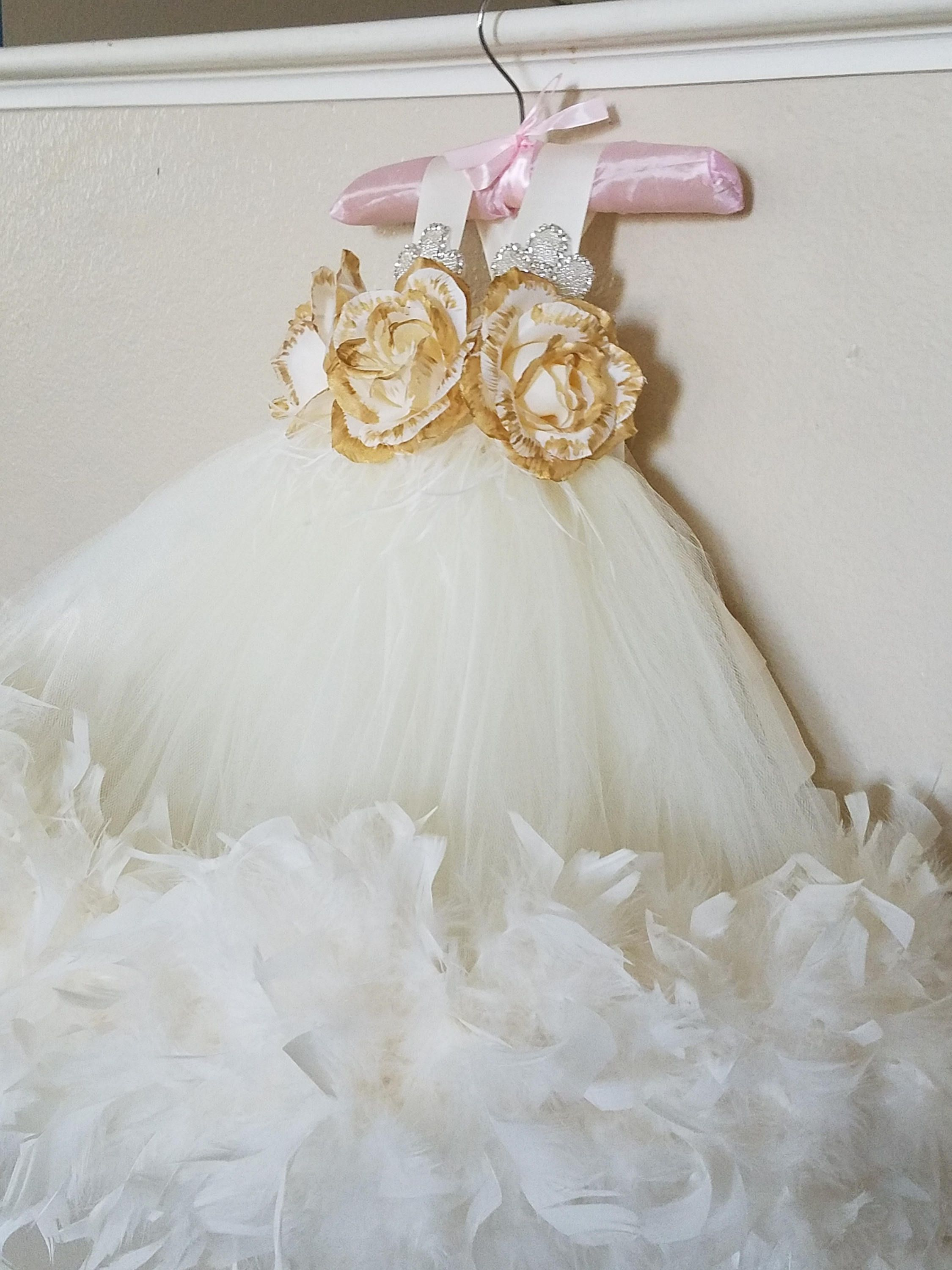 Gold and Ivory Feather Flower Girl Dress Baby Baptism Dress