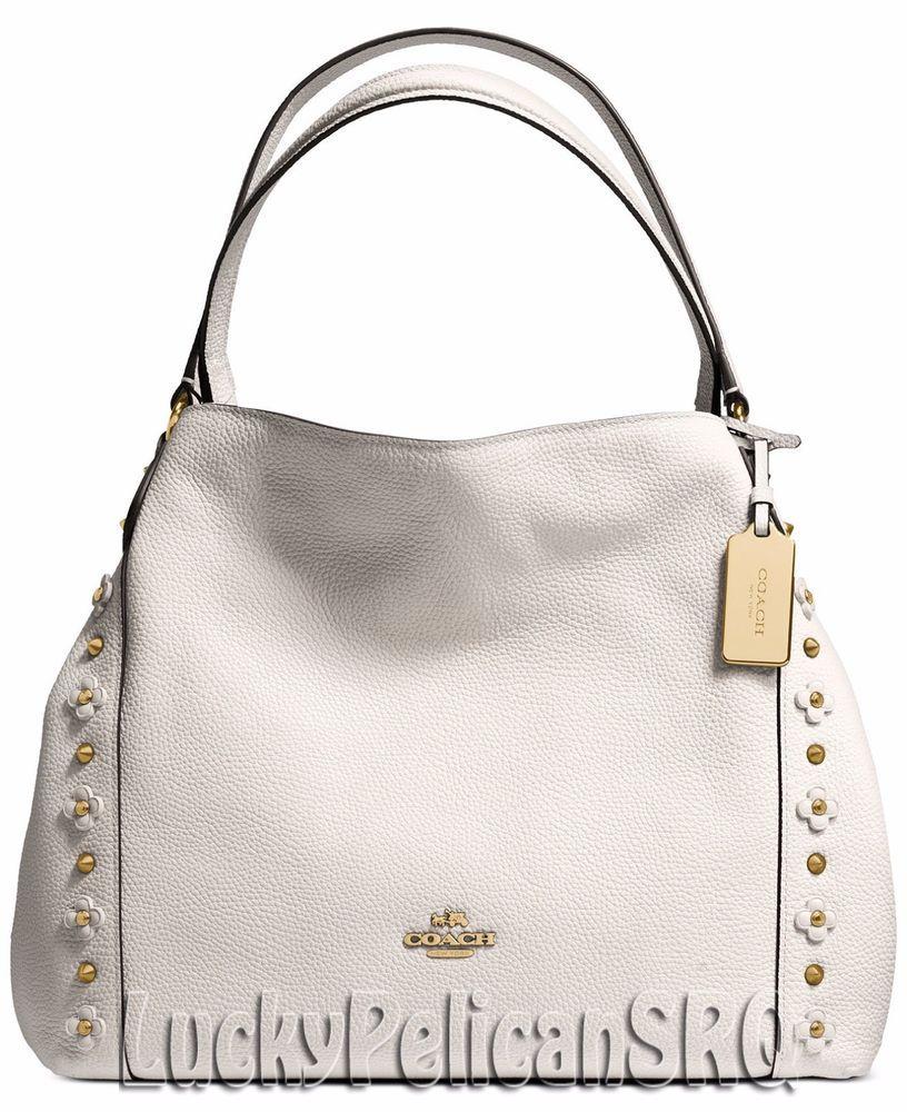 Tote - Canvas Signature Rivets Edie 31 Shoulder Bag Chalk - beige - Tote for ladies Coach 1P4W5wEmd