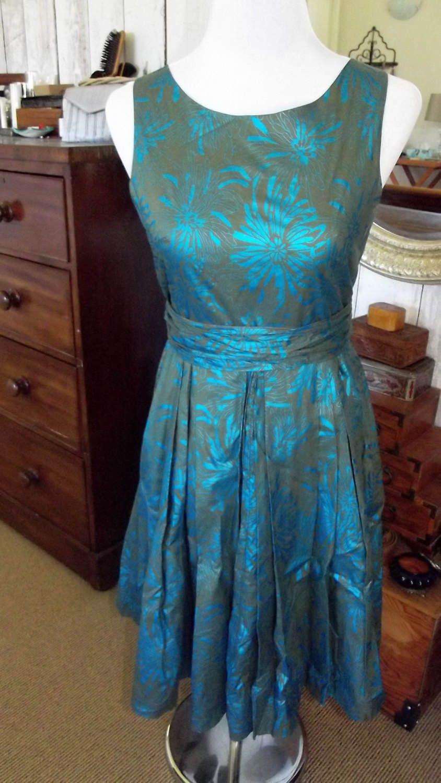 Satin turquoise and khaki green dress Size UK/AU 10 by AbsoluteVintageGirl on Etsy