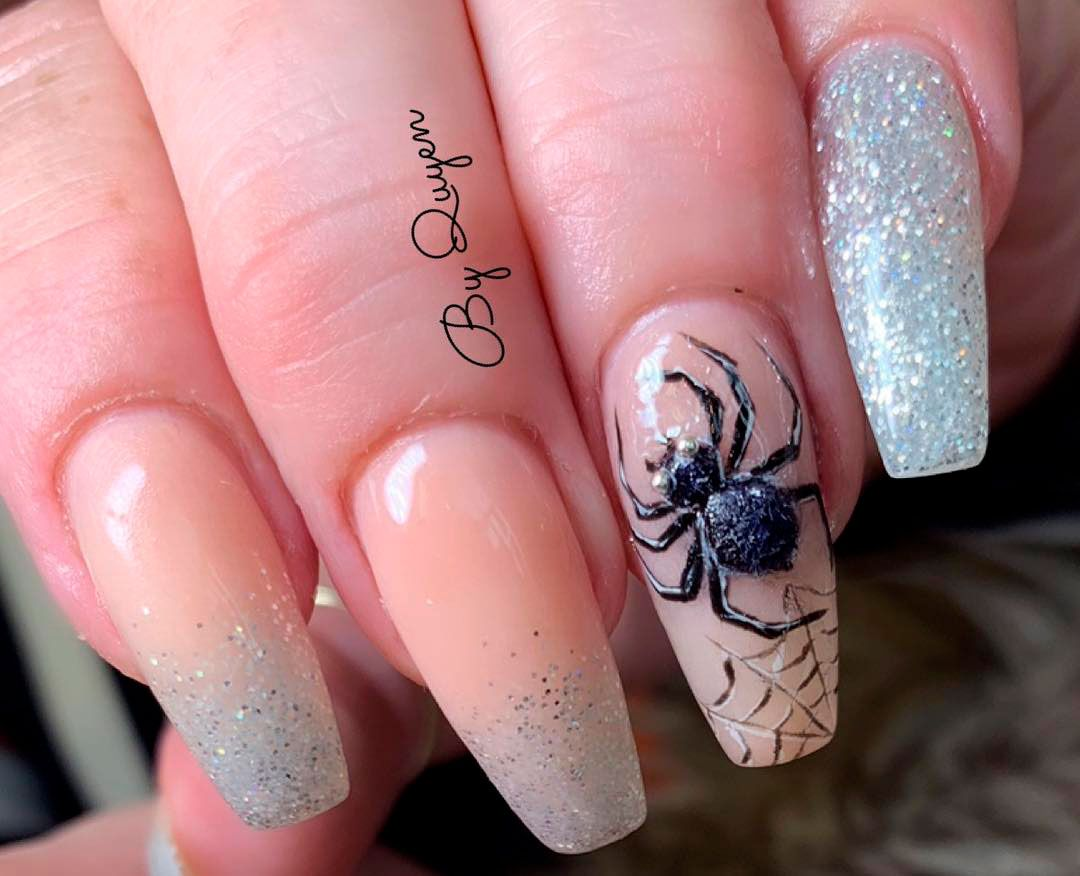 Amazing Glitter & Spiderweb Halloween Press On Nails | Маникюр