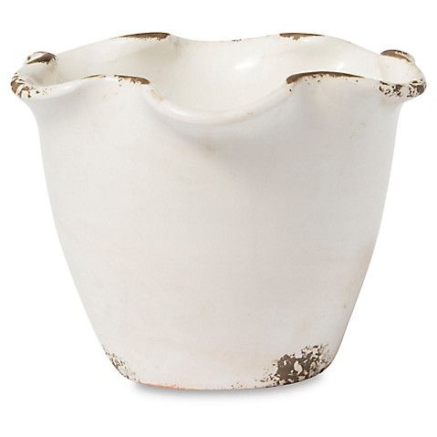 "6"" Rustic Planter, White $30.00"