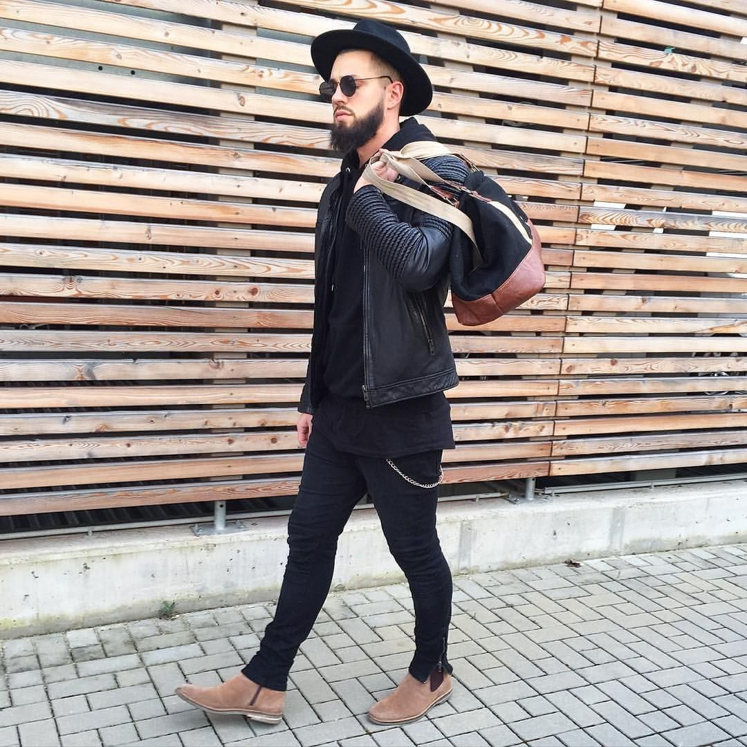 Fio On Instagram Black Is Always A Good Idea Leather Jacket Love By Be Edgy Official Jeans Pullandbear Hoodie And Hat Hm Shoes Galeria