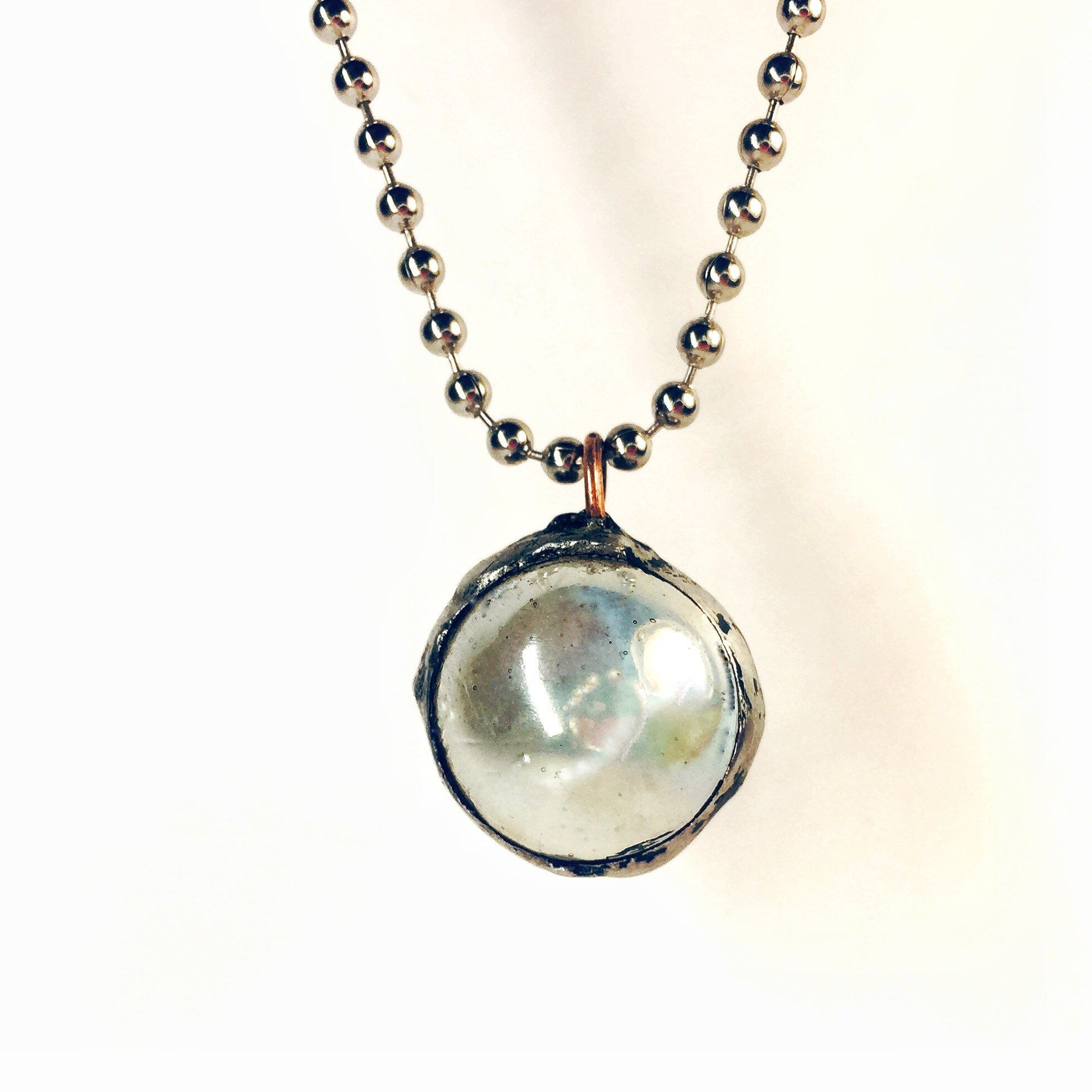 Glass Ball Necklace Stained Glass Ab Clear Marble Charm Etsy Vintage Style Necklace Ball Necklace Large Hoop Earrings