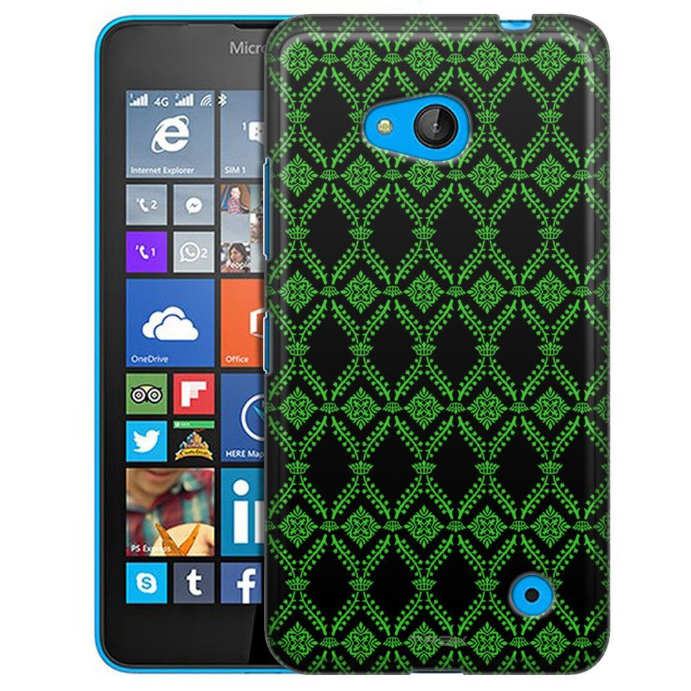Nokia Lumia 640 Victorian Wallpaper Green On Black Slim Case