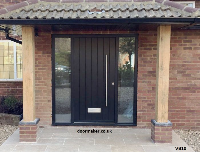 Contemporary Doorset Vertical Boards Black Dg Front Door Ideas